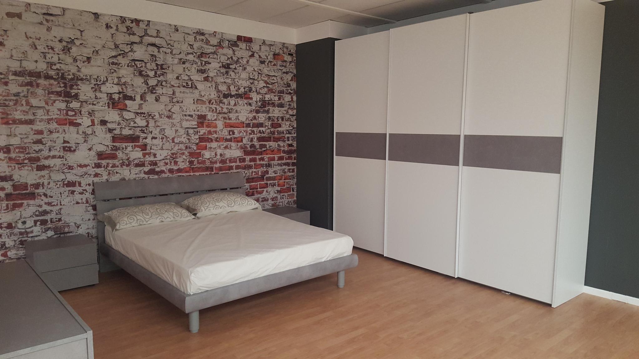 Camera completa bianca e grigia outlet mobili e for Bml arredamenti